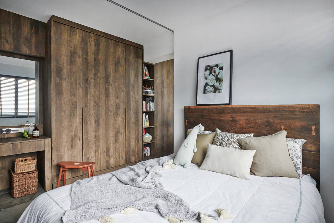 bedroom in a home where artist turns living room into an art studio - three-d conceptwerke