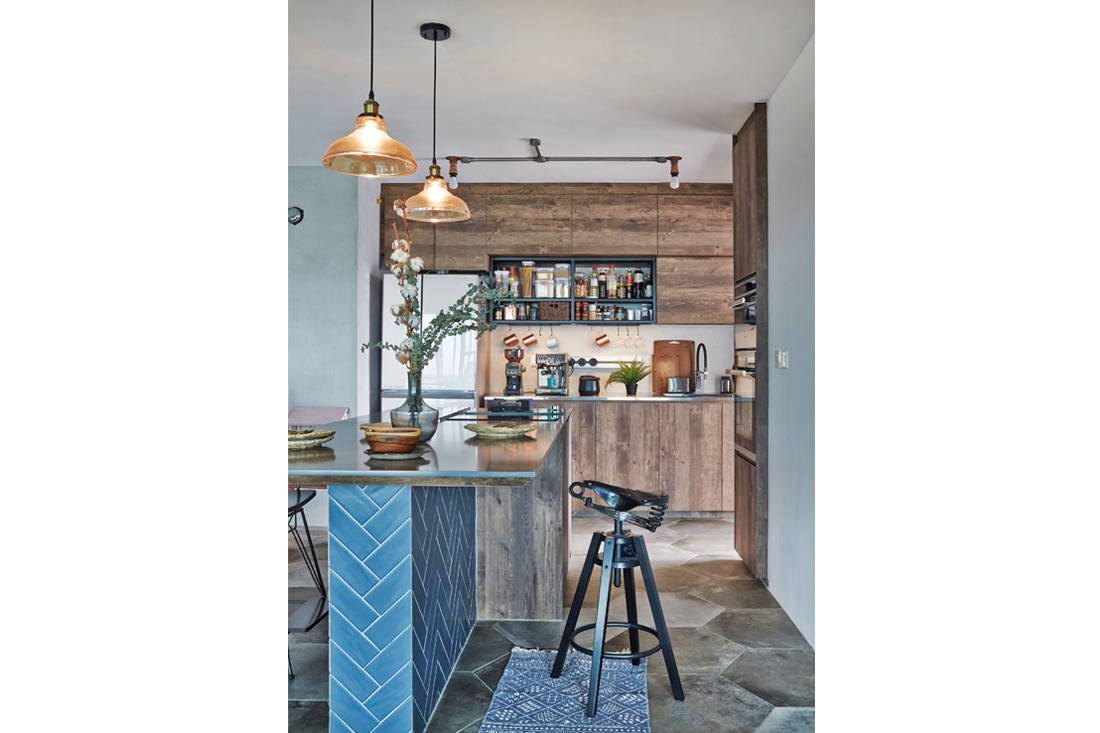 kitchen in a home where artist turns living room into an art studio - three-d conceptwerke