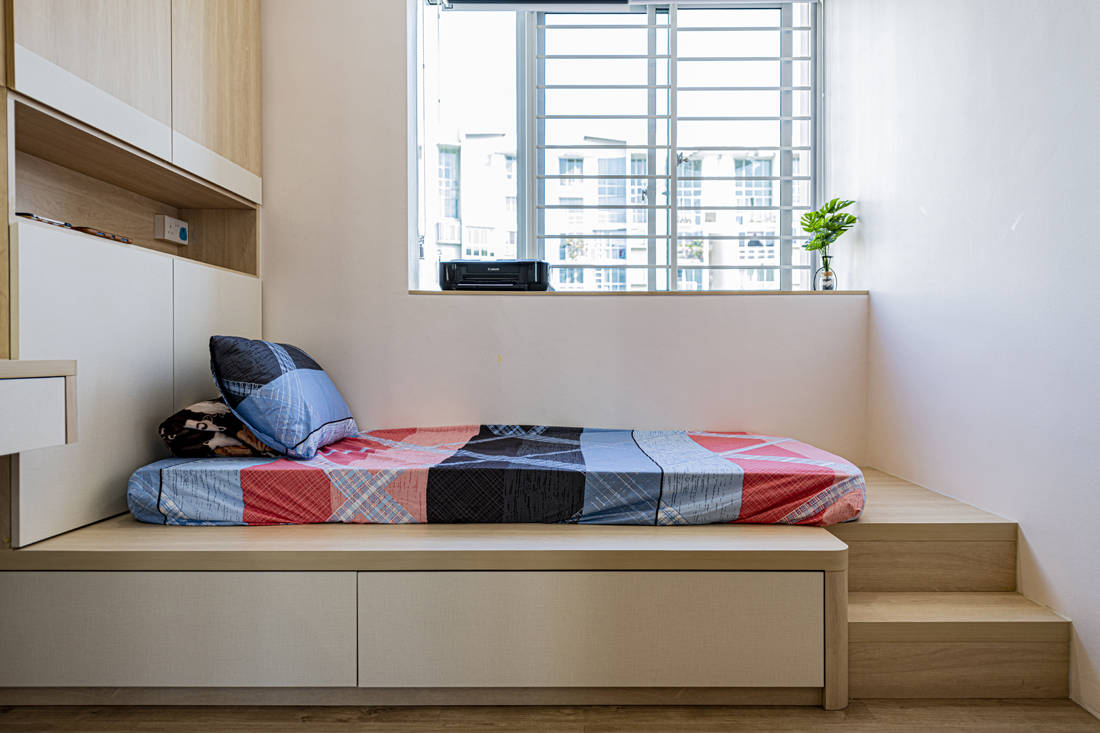 practical storage and organisation in condo bedroom by Metier Planner