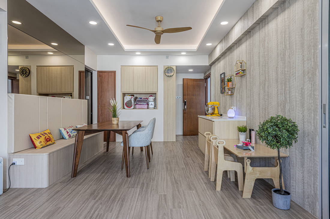 practical storage and organisation in condo dining area by Metier Planner