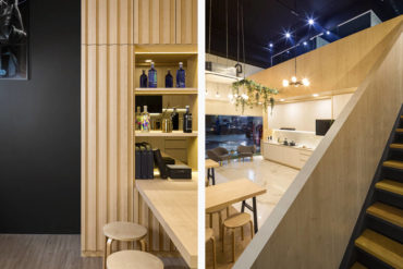 A chic design studio stands out like a gem in the industrial area