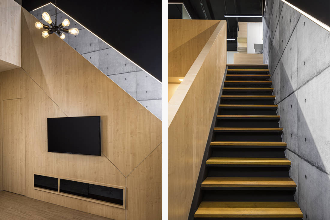 AP Concept design studio stairs and feature wall
