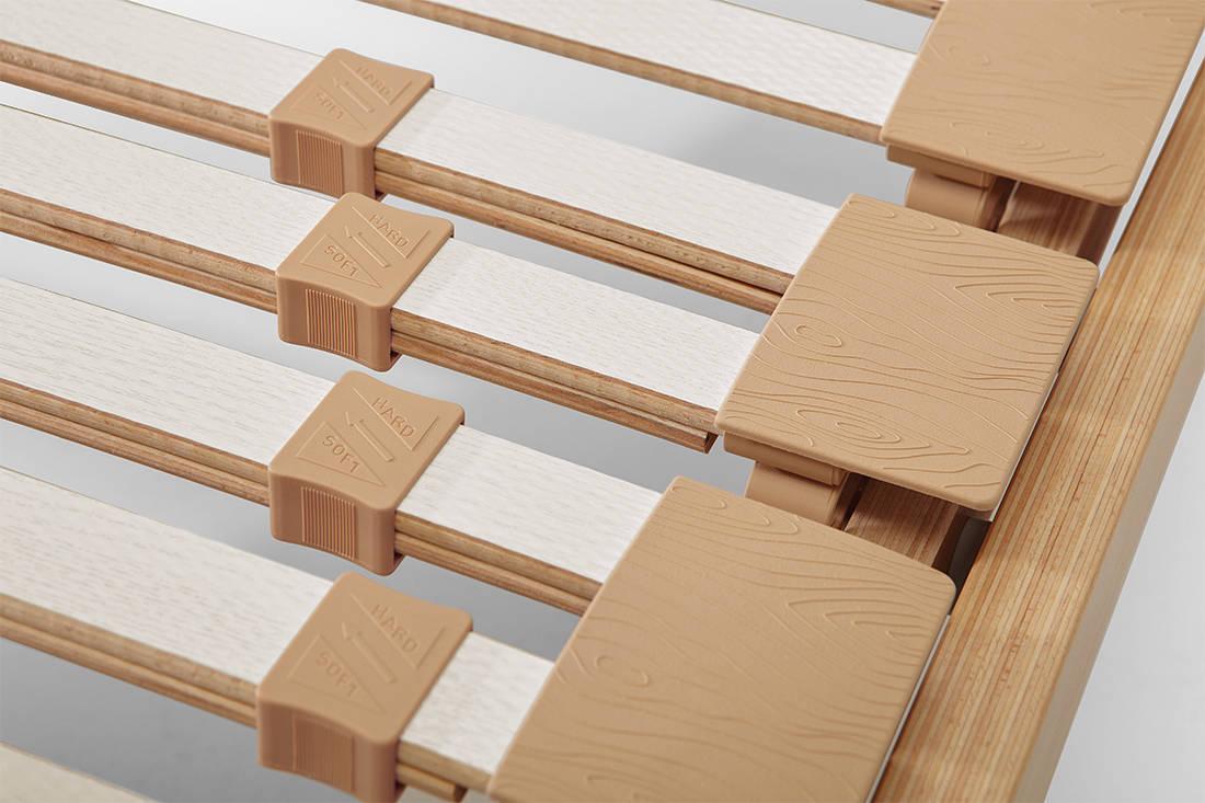European Bedding ergonomic slatted bed base sliders