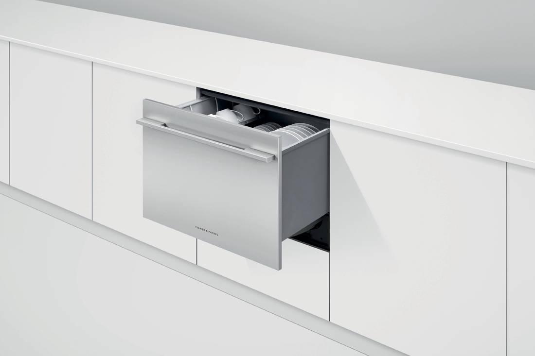 Fisher & Paykel Single DishDrawer™ Dishwasher in-situ open drawer white
