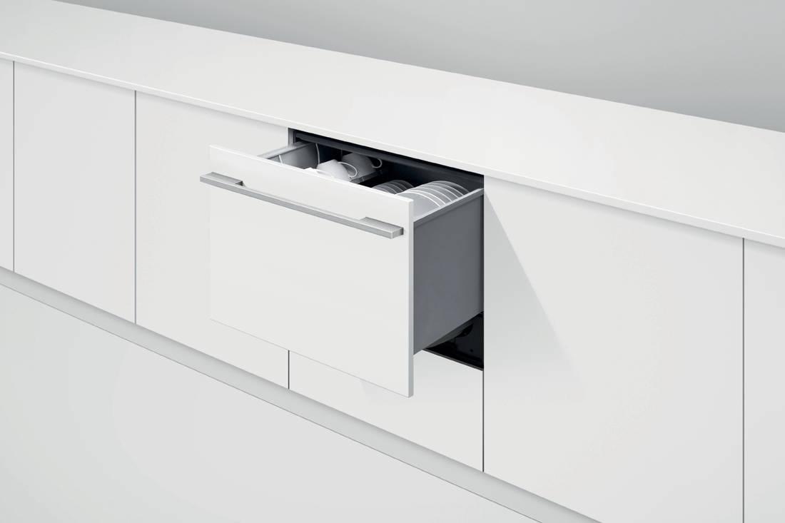 Fisher & Paykel Single DishDrawer™ Dishwasher in-situ open drawer wihite