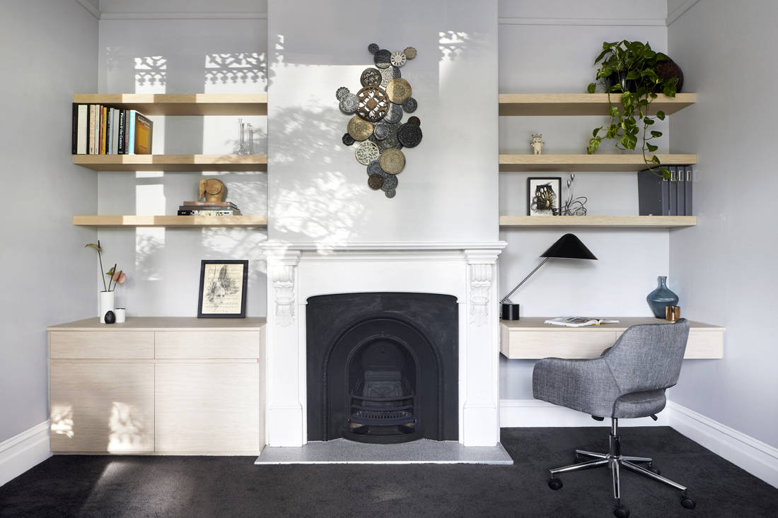 Victorian suburban home fireplace by Blank Canvas Architects