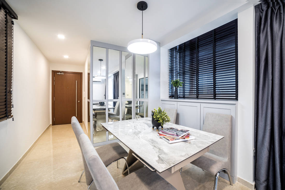 dining area in a compact apartment by Archive Design