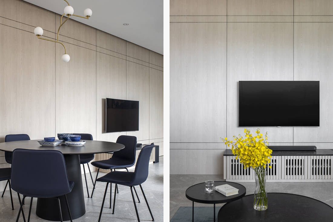 light wood condo dining and Tv feature wall by Carpenters