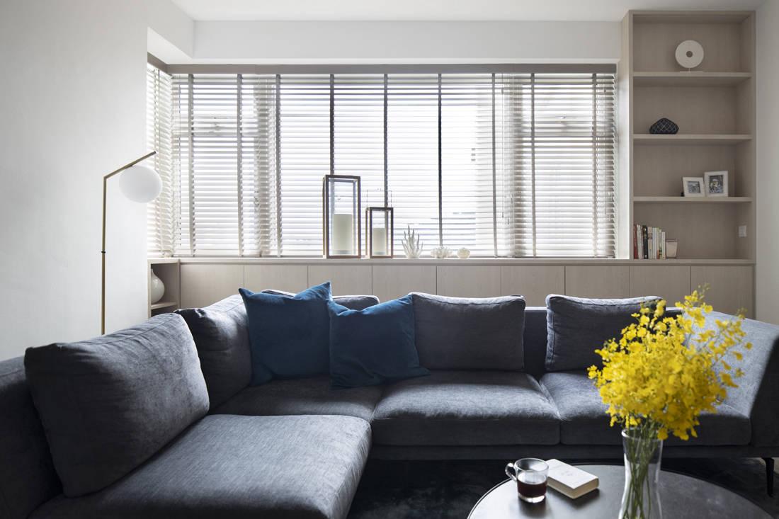 light wood condo living room shelf by Carpenters