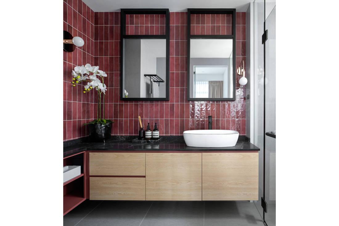 light wood condo master bathroom by Carpenters