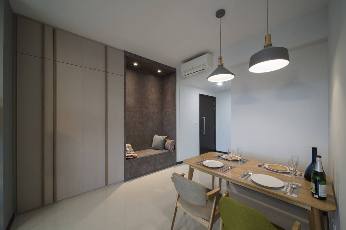 minimalist condo with Scandinavian influences in dining area by Forefront Interior