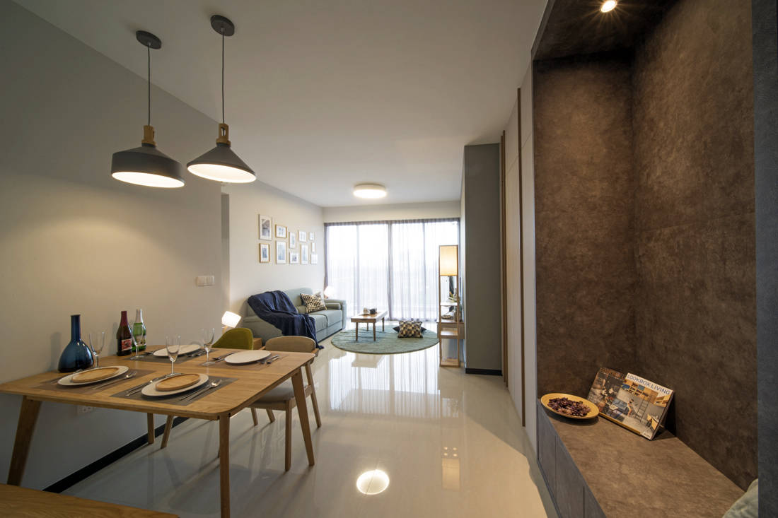 minimalist condo with Scandinavian influences in living space by Forefront Interior