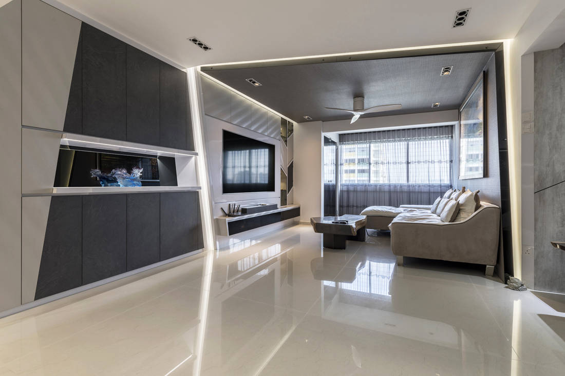 resale flat entrance and living area get facelifted by Vivre Creative Design