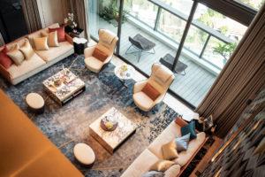 Luxury Tomlinson Heights condo living room by JPA Design