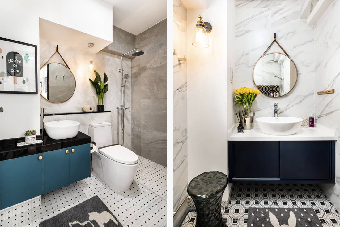 bathrooms in HDB flat inspired by London storefronts by M Atelier