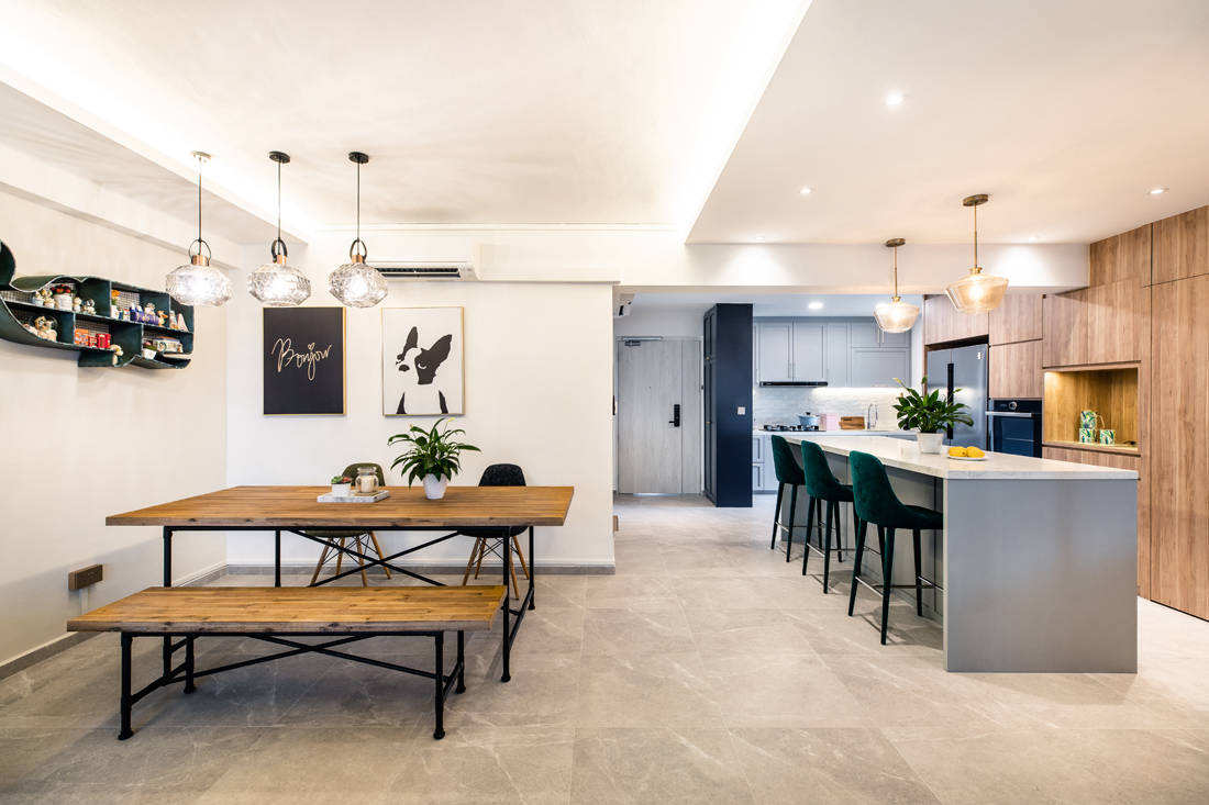 kitchen and dining in HDB flat inspired by London storefronts by M Atelier