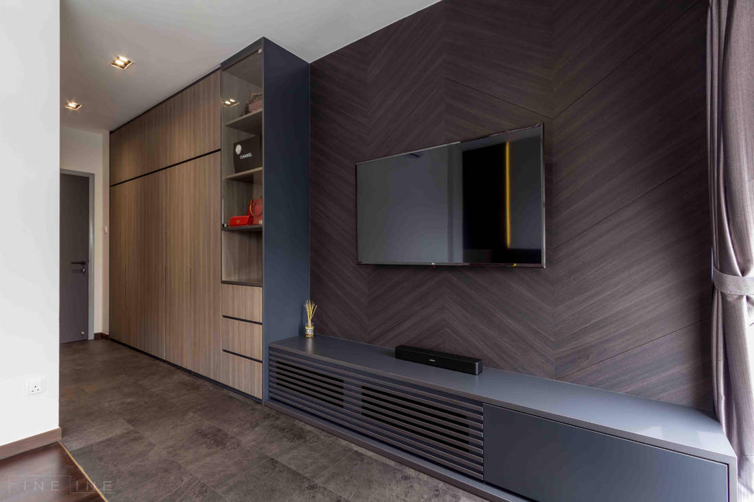 master bedroom TV feature wall in family home for six by Fineline Design