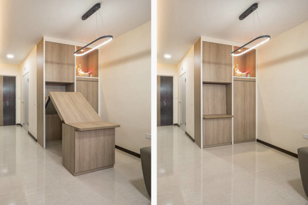 pull-out table in small family home by AP Concept