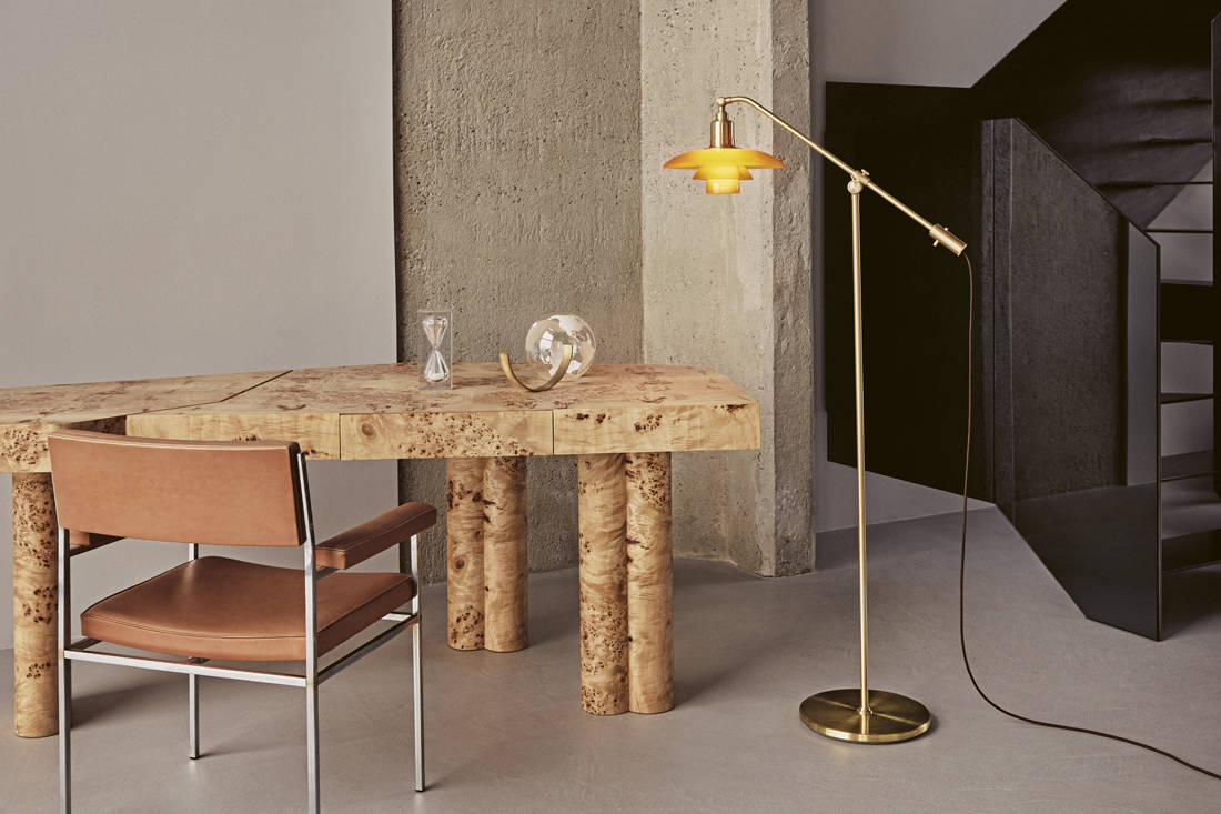 Louis Poulsen's PH Limited Edition 2019 mid-century lamp - the PH 3-2 Amber Coloured Glass Floor Lamp (2)