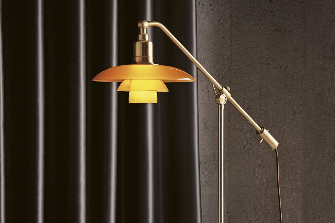 Louis Poulsen's PH Limited Edition 2019 mid-century lamp - the PH 3-2 Amber Coloured Glass Floor Lamp