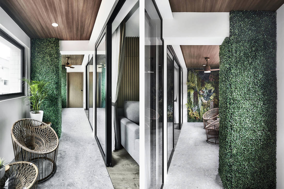 balcony of resort inspired resale flat with Hollywood-style makeup studio by Design Zage