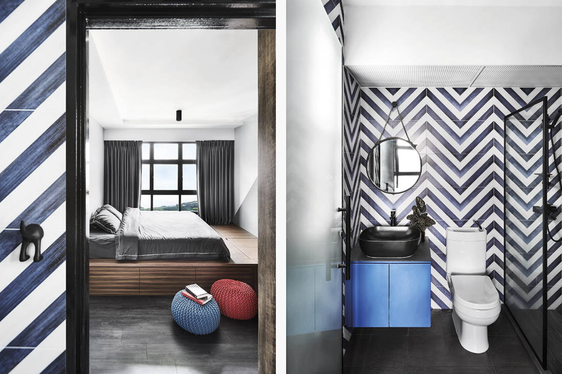 bold colours and patterns in HDB flat bedroom and bathroom by IN-EXPAT