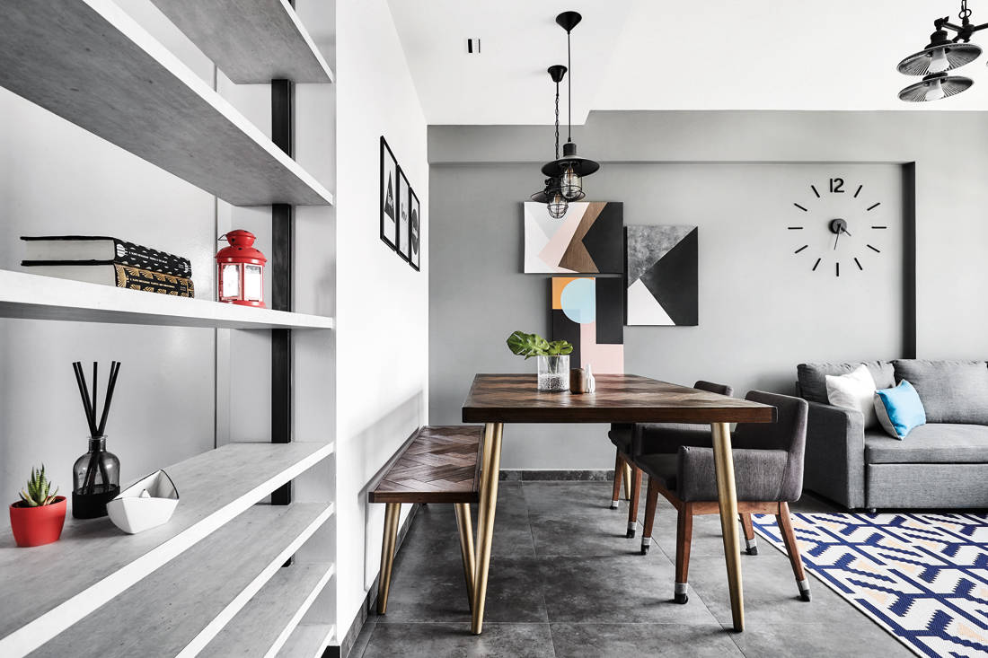 bold colours and patterns in HDB flat dining room by IN-EXPAT
