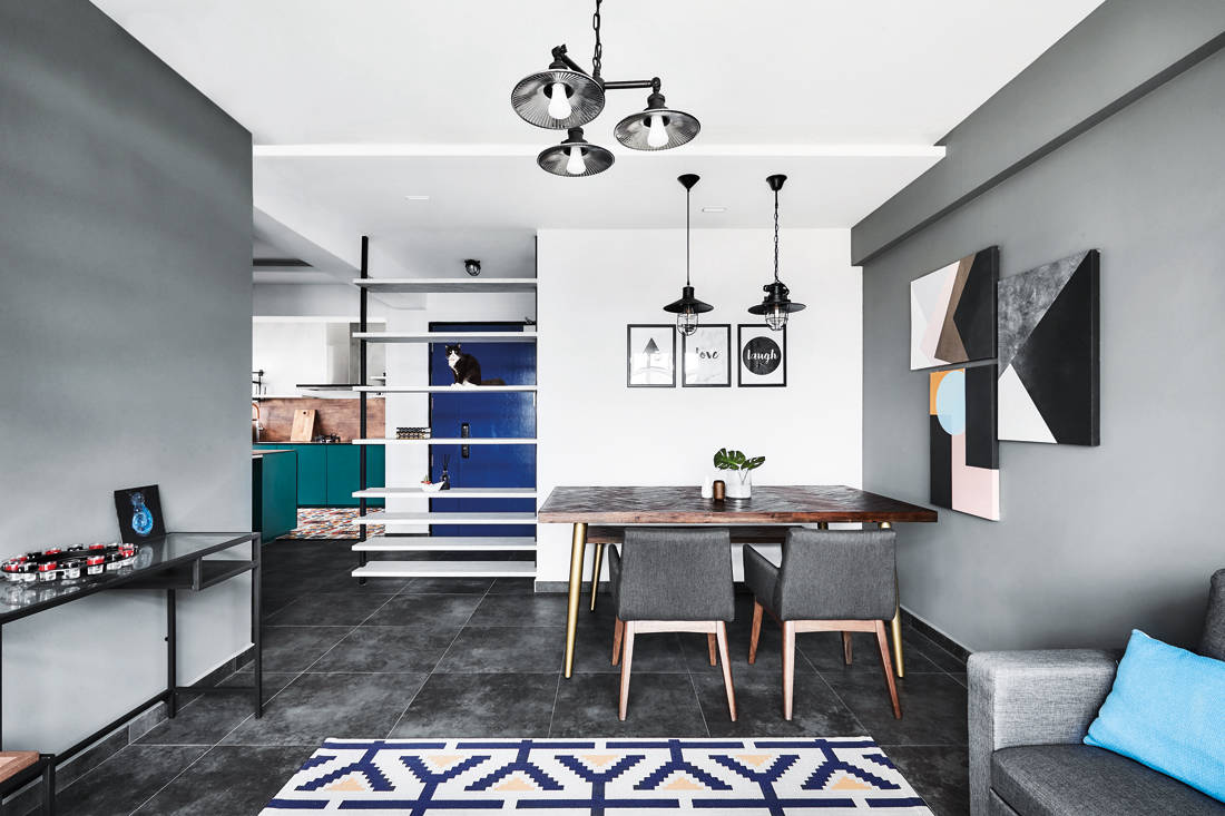 bold colours and patterns in HDB flat living space by IN-EXPAT