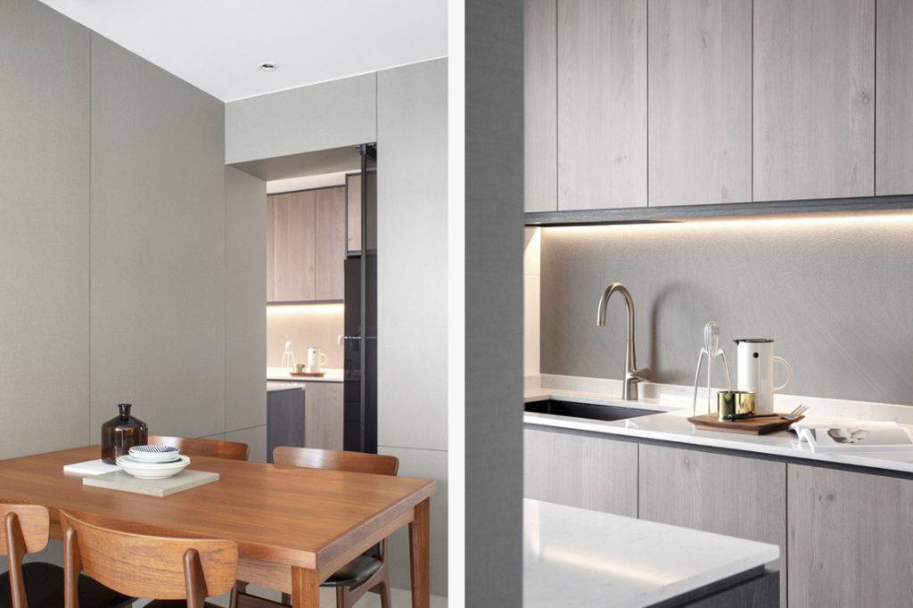 dining space and kitchen in small flat by Joey Khu ID