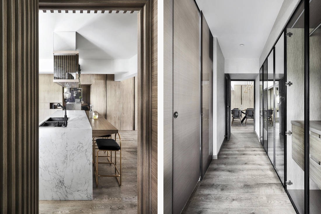kitchen and walk-in wardrobe of resort inspired resale flat with Hollywood-style makeup studio by Design Zage