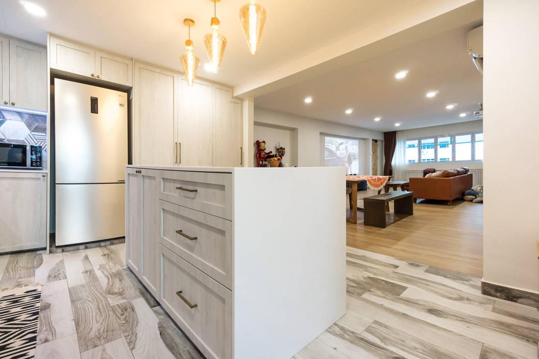 kitchen island in scandi meets boho chic resale flat