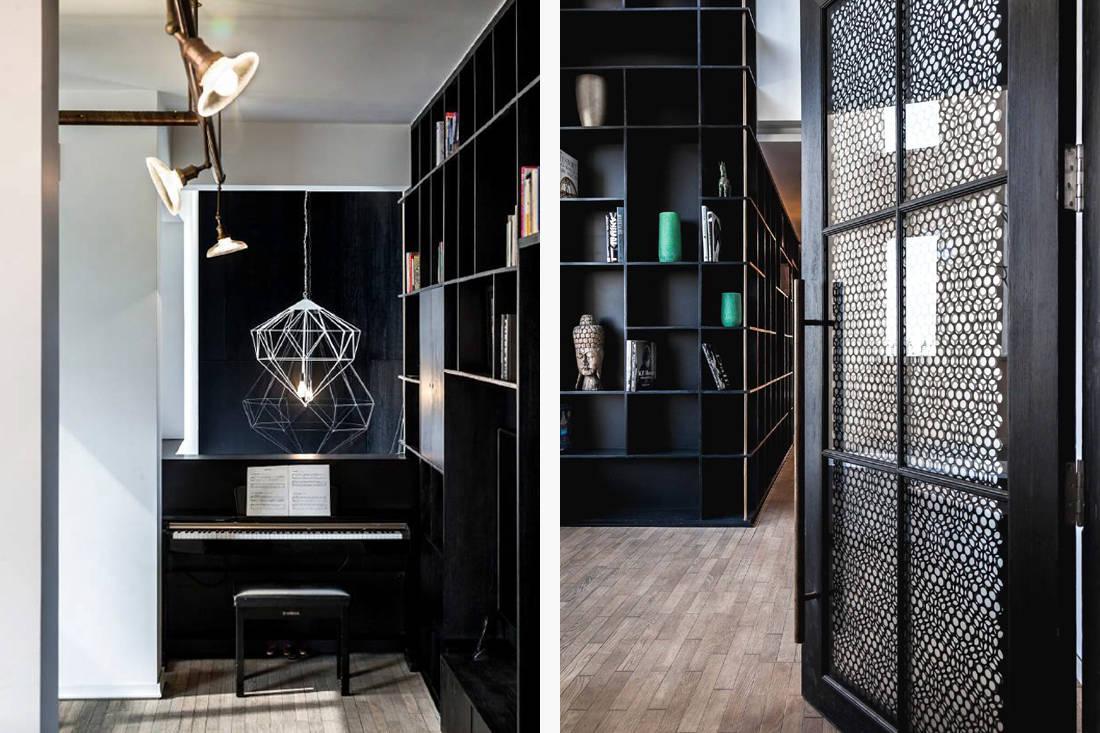 luxury penthouse bookshelves in New Delhi by Architecture Discipline (2)
