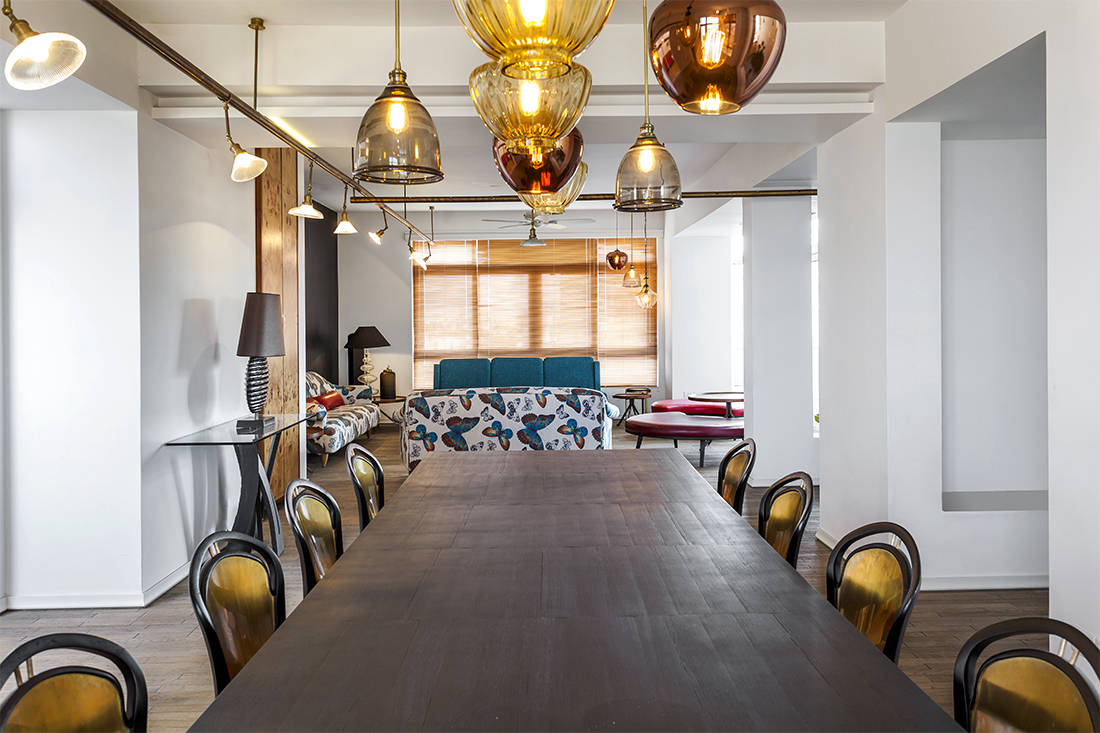 luxury penthouse dining space in New Delhi by Architecture Discipline