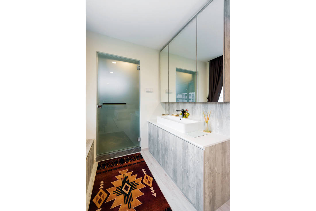 master bathroom in scandi meets boho chic resale flat