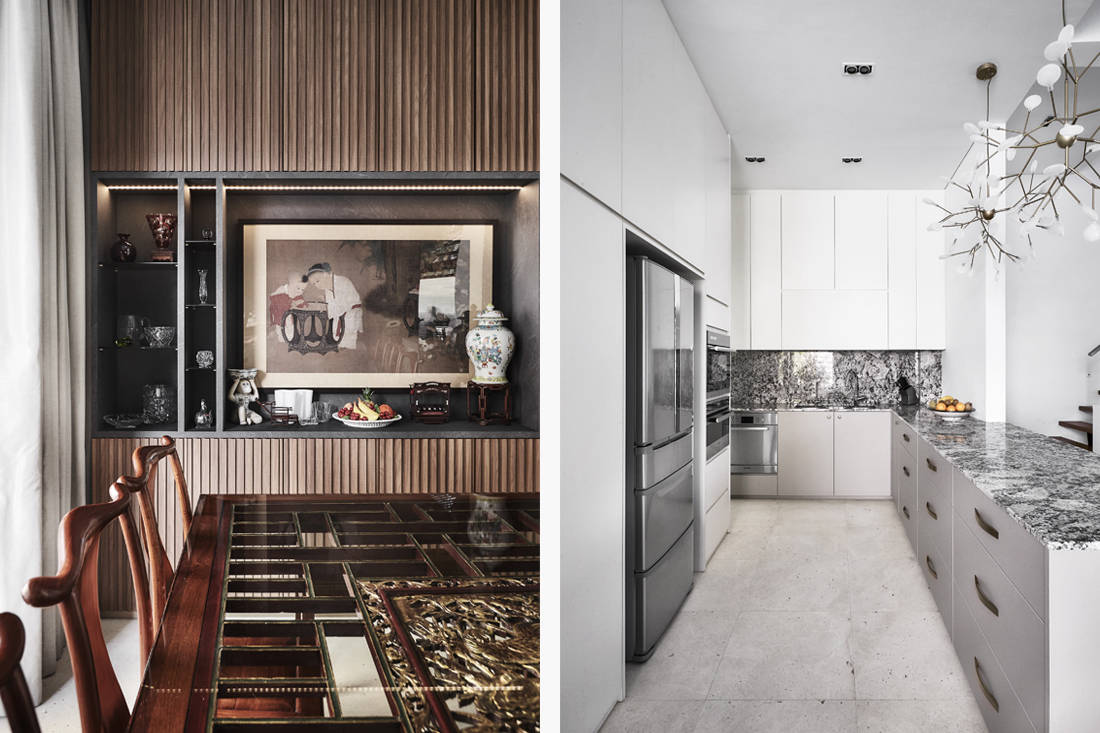 modern Oriental-style dining and kitchen by Third Avenue Studio