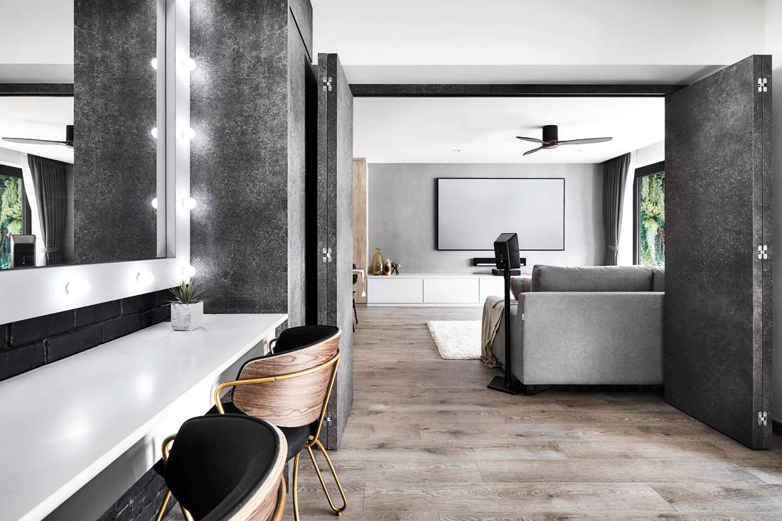 resort inspired resale flat with Hollywood-style makeup studio by Design Zage