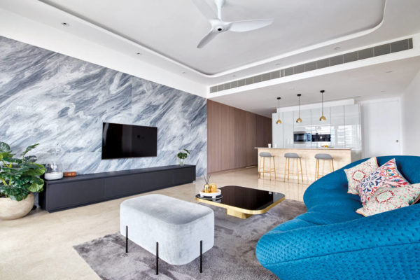 use of marble in living space of Trilight condo by Free Space Intent
