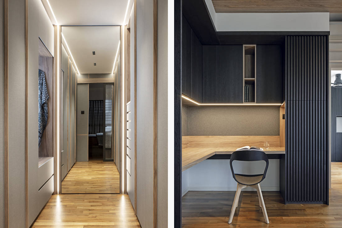 walk-in wardrobe and study in family-oriented home by Obbio Concept