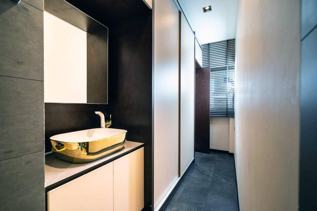HDB maisonette master bathroom by Fineline Design