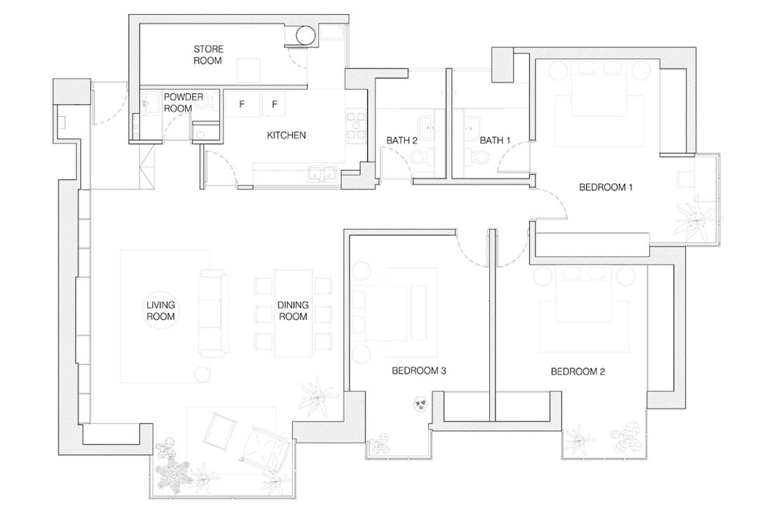 pragmatic design of Cavenagh Court condo by Pi Architects floor plan