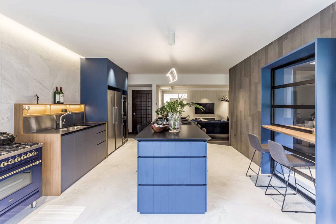 Shades of blue Hall interior design - kitchen