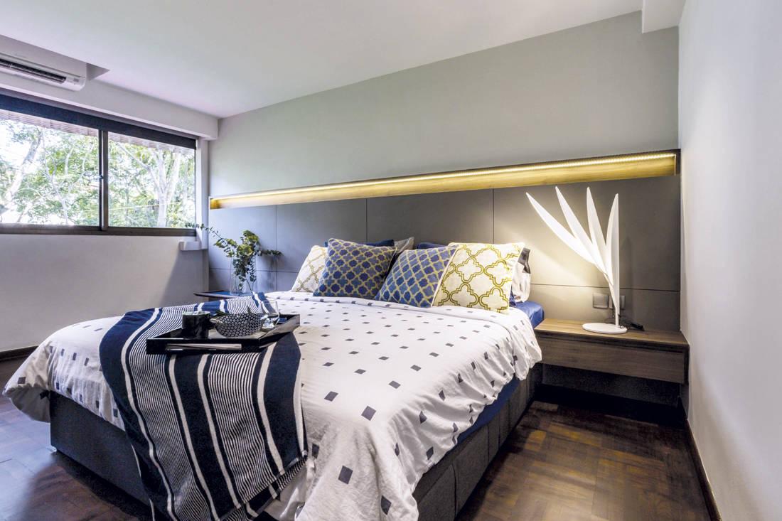 Shades of blue Hall interior design - bedroom