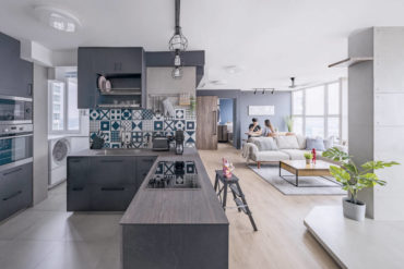 A free-flowing flat with unconventional 'rooms' and an industrial theme