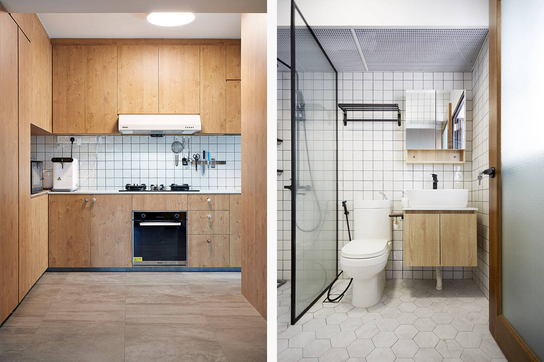 Japanese aesthetic in an HDB flat kitchen and bathroom by D5 Studio Image