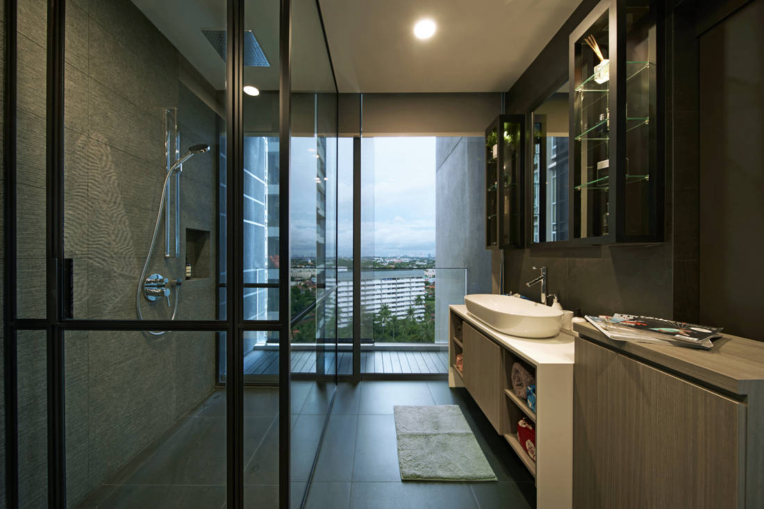 bathroom in apartment designed for retirement in style by SPIRE