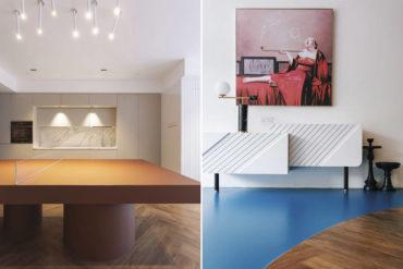 This interior uses vivid colour blocks to create dramatic spaces