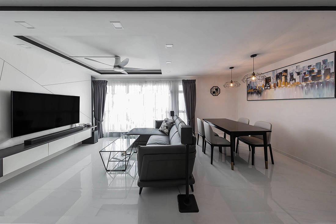 black and white resale flat by AP Concept
