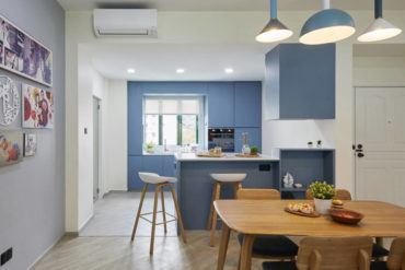 This family home effectively uses blue as its main colour palette