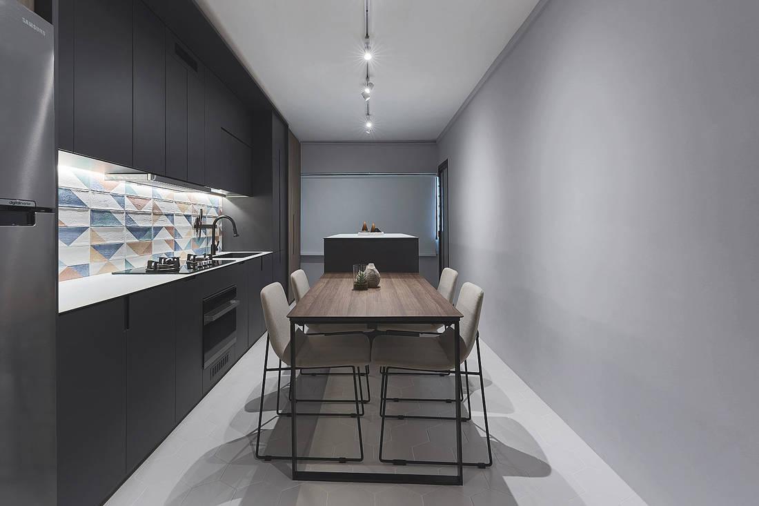 kitchen in HDB flat by Happe Design Atelier