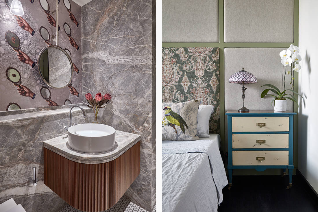 relaxed elegance in daughter's bedroom and bathroom designed by Perinelli Design